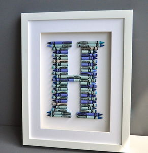 Crayola Letter Art In Blues Or Pinks - playroom brights
