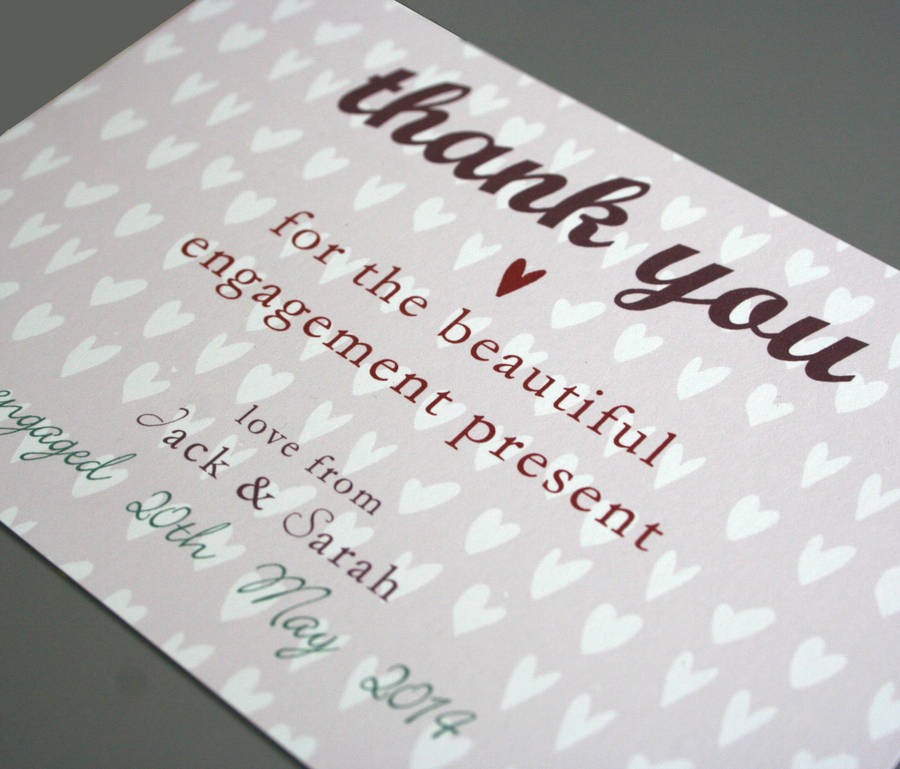Cool Wedding Gifts For Young Couples: Personalised Engagement Or Wedding Thank You Card By Molly