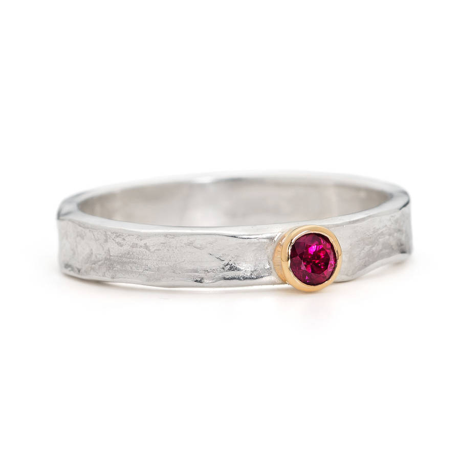 Designer Ruby Gold And Sterling Silver Ring