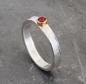 Designer Ruby Gold And Sterling Silver Ring - 40th anniversary: ruby