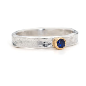 Designer Sapphire Silver And Gold Ring - wedding fashion