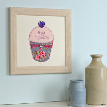 Personalised Cupcake Embroidered Framed Artwork