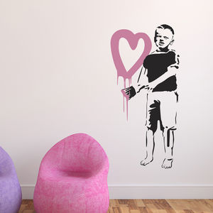 Banksy Boy Painting Heart Wall Sticker - office & study