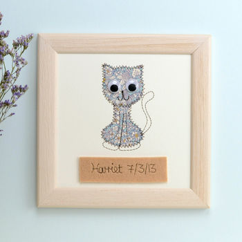 Personalised Cat Embroidered Plaque