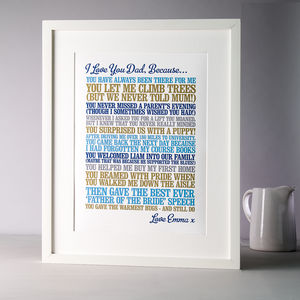 'I Love You Because' Personalised Print - gifts for fathers