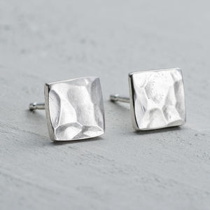 Handmade Silver Hammered Studs
