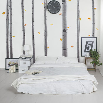Half Tone Silver Birch Tree Wall Stickers