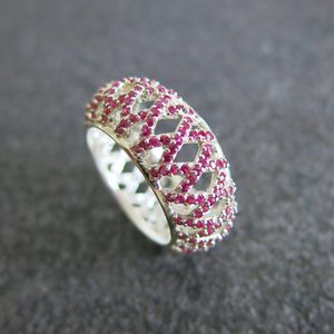 Ruby Pavé Large Band Ring - 40th anniversary: ruby