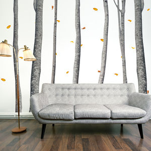 Autumn Scene Silver Birch Tree Wall Stickers - bedroom
