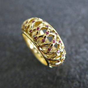 Ruby Large Scattered Band Ring - fine jewellery