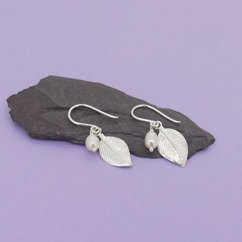 Pearl And Silver Leaf Drop Earrings