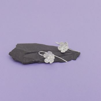 Silver Buttercup Longstem Earrings