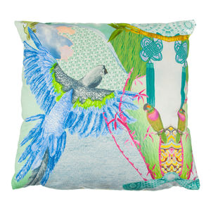 Jenny Collicott Blue Headed Parrot Cushion - on trend: tropical