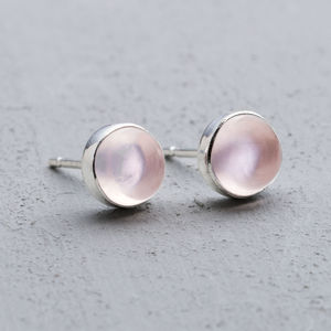 Rose Quartz And Silver Studs - earrings