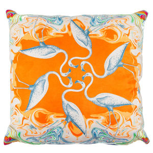 Jenny Collicott Synchronised Flamingos Cushion - cushions