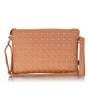 Studded Clutch Bag In Coffee