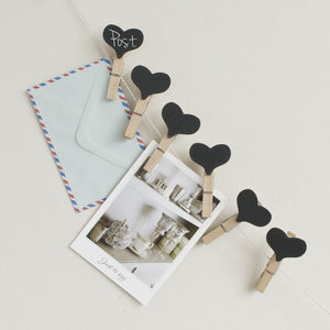 Set Of Six Heart Chalkboard Clip Pegs - home decorating