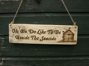 Hand Crafted Driftwood Beach Hut Sign - outdoor decorations