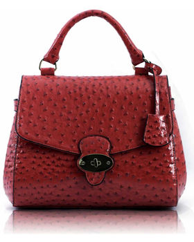 Flap And Twist Lock Satchel Ostrich Pink