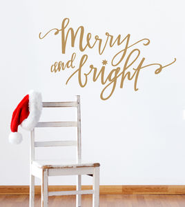Merry And Bright Christmas Wall Sticker