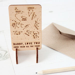 Wooden Star Constellations Message Card - gifts under £15