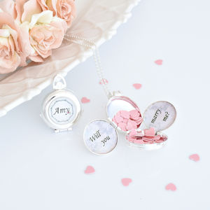 Personalised Confetti Popper Locket Necklace