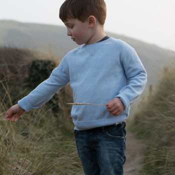 Boy's cashmere sky blue crew neck jumper