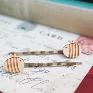 Wooden Bumble Bee Hair Grips - hair accessories