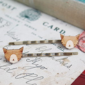 Wooden Cat Hair Grips - hair accessories