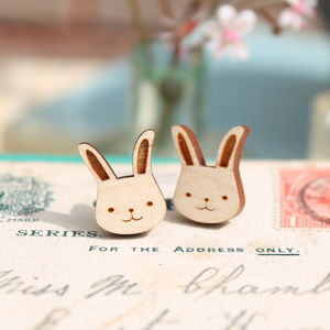 Wooden Bunny Rabbit Stud Earrings - earrings