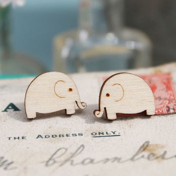 Wooden Elephant Stud Earrings