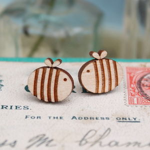 Wooden Bumble Bee Earrings - earrings