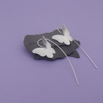 Silver Butterfly Long Stem Earrings