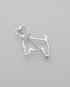 Sterling Silver Westie Dog Brooch With Cz Collar