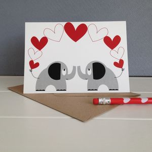 Two Elephants In Love Wedding And Valentines Card - anniversary cards