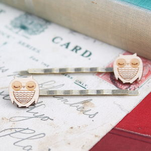 Wooden Owl Hair Grips - combs & hair pins