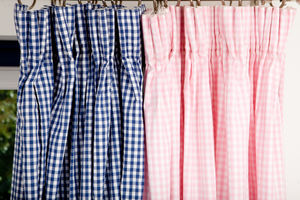 Gingham Curtains Available In Pink And Navy - curtains & blinds