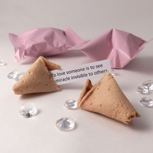 Unusual Wedding Favours: Fortune Cookies: Pink Wrapper - cakes & sweet treats