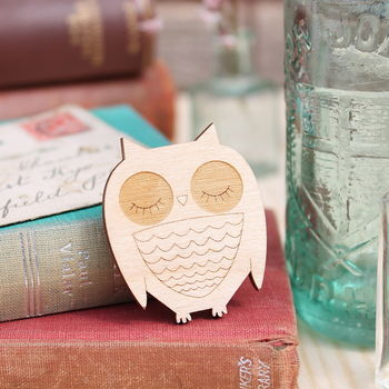 Wooden Owl Brooch