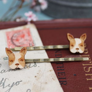 Wooden French Bulldog Hair Grips