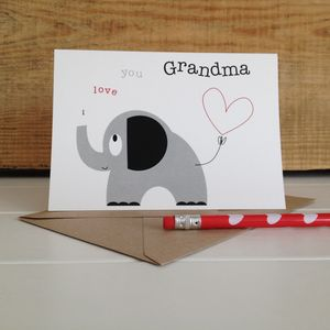 'I Love You Grandma' Elephant And Heart Greetings Card