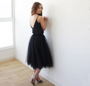 Dramatic Midi Silk Tulle Skirt