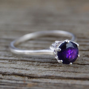 Amethyst Solitaire Engagement Sterling Silver Ring