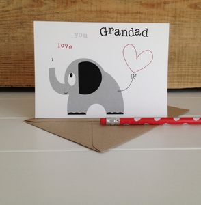 'I Love You Grandad' Elephant And Heart Greetings Card - winter sale