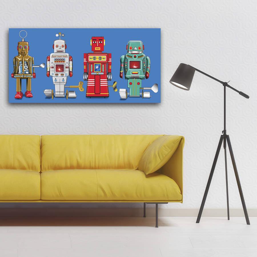 Four Robots Pop Art Canvas Print