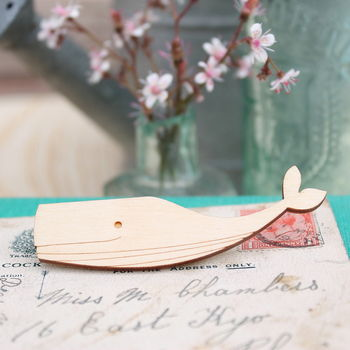 Wooden Sperm Whale Brooch