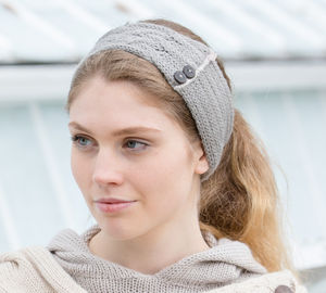Alpaca Cable Knit Headband With Coconut Buttons