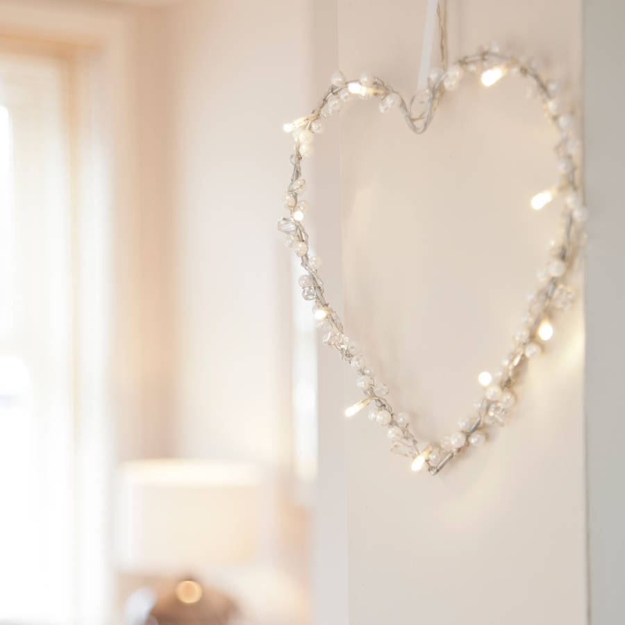 Battery Heart Fairy Light Wreath By Lights4fun