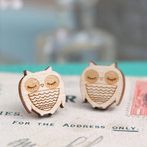 Wooden Owl Stud Earrings