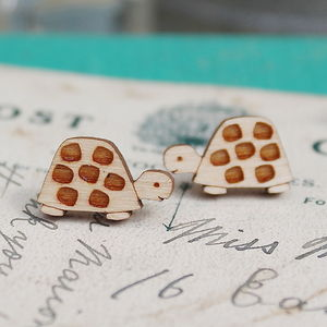 Wooden Turtle Stud Earrings